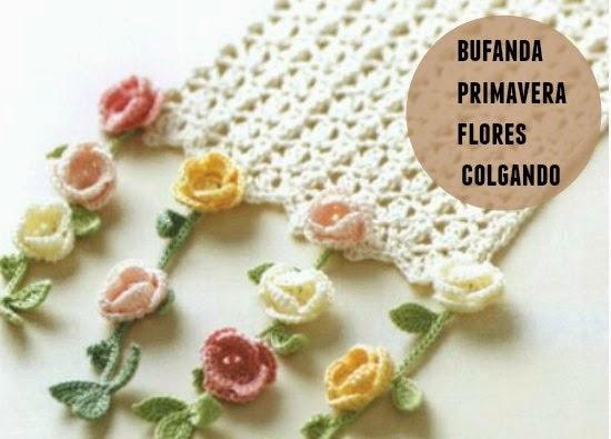 bufanda, crochet, flores, primavera