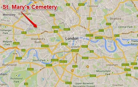 Map showing location of St. Mary's Roman Catholic Cemetery in London.