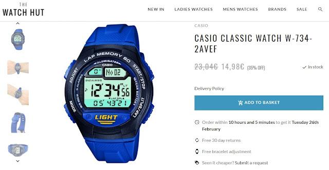 Casio w-734 lap timer