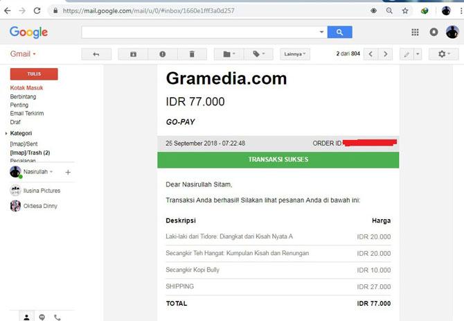 Pemberitahuan di email jika pesanan sudah dibayar