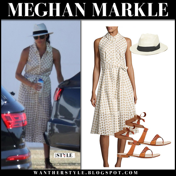 Meghan Markle in beige gingham sleeveless dress shoshanna ashland and sarah flint grear sandals royal family summer fashion june 30