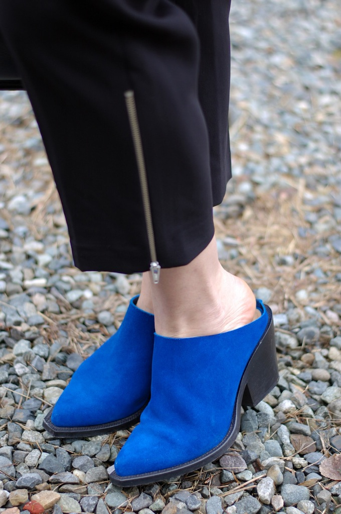 Acne blue suede mules Vancouver fashion blog