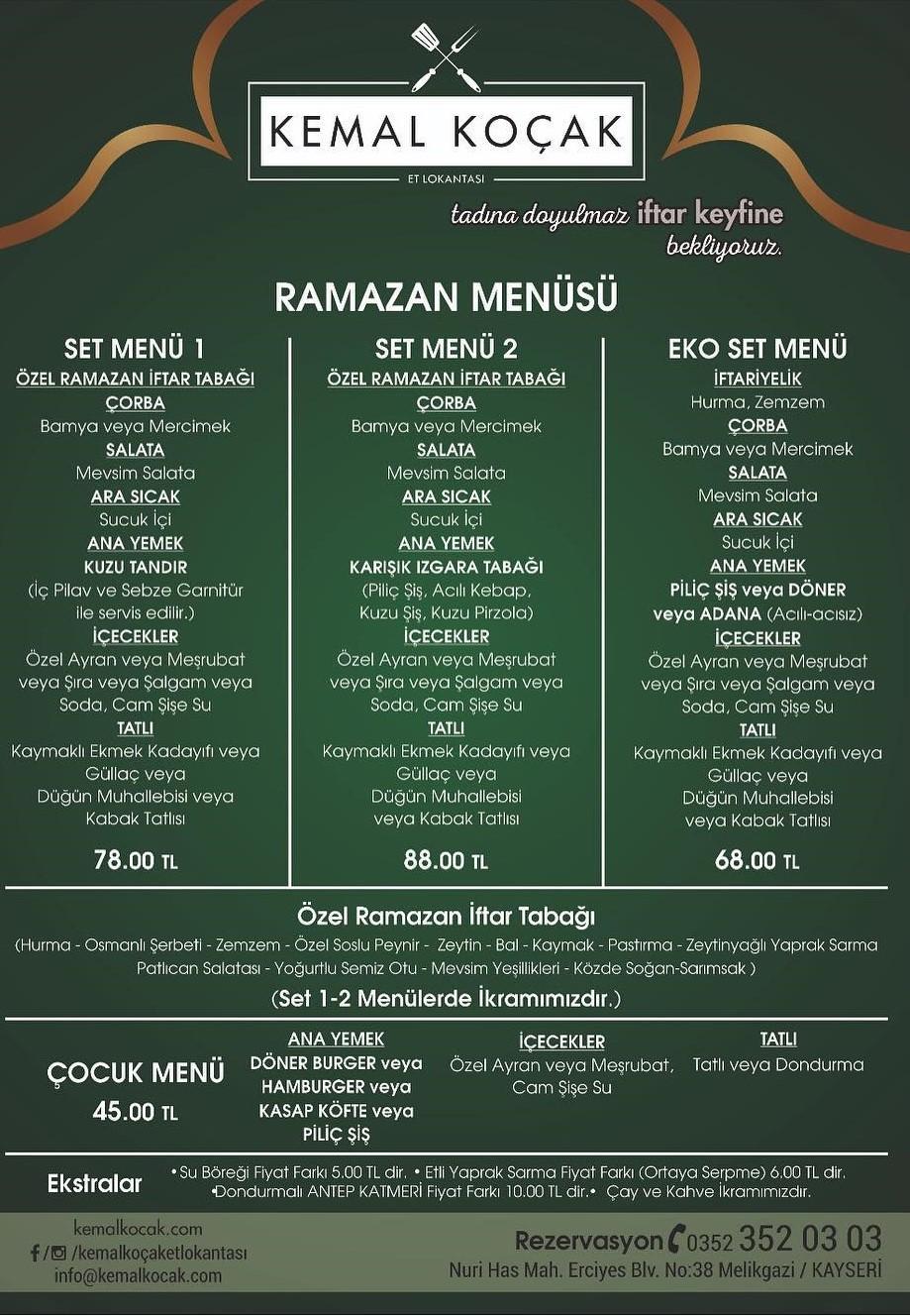 kemal koçak et lokantası kayseri ramazan 2018 iftar