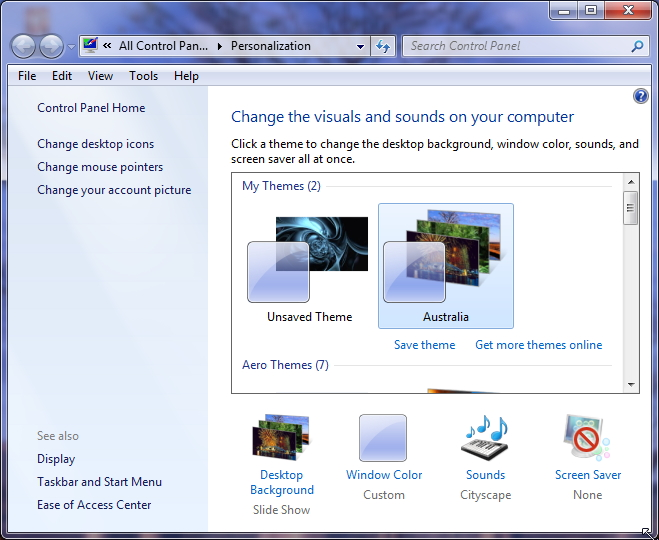 Personalization Windows 7