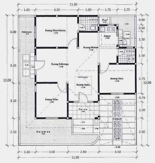 Menggambar Denah Rumah Sederhana 1 Lantai 3 Kamar Tidur