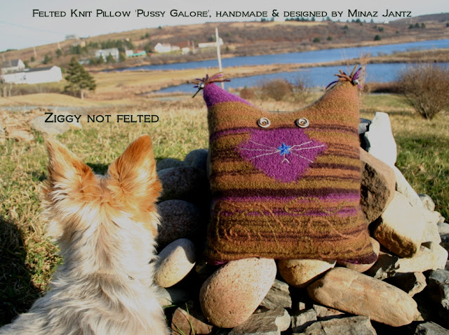 'Pussy Galore', Felted knit pillow by Minaz Jantz