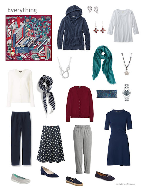 a capsule wardrobe in navy and grey with red and teal accents