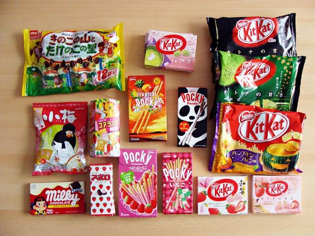 japanische Süßigkeiten: Sakura und Grüntee Kit Kat, Milky, Pocky, Koume Bonbons, Koalas Erdbeer