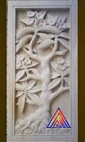 Relief batu alam paras jogja/ paras putih motif bunga kamboja