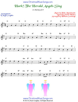 Hark! The Herald Angels Sing, melody and chords in the key of G. Bass clef and alto clef versions are available, too.