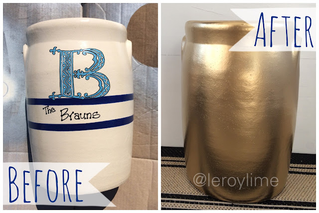 Before & After : Crock turned Umbrella Holder - LeroyLime