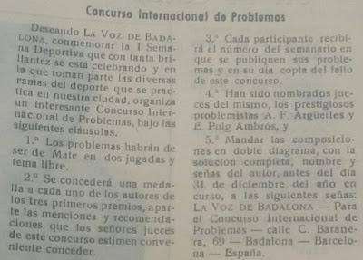Concurso Internacional de Poblemas de Ajedrez promovido por el semanario La Voz de Badalona en 1958