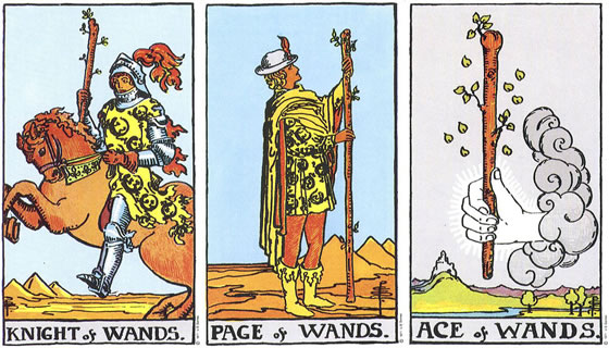 Rider Waite Smith Tarot Knight of Wands, Page of Wands, Ace of Wands