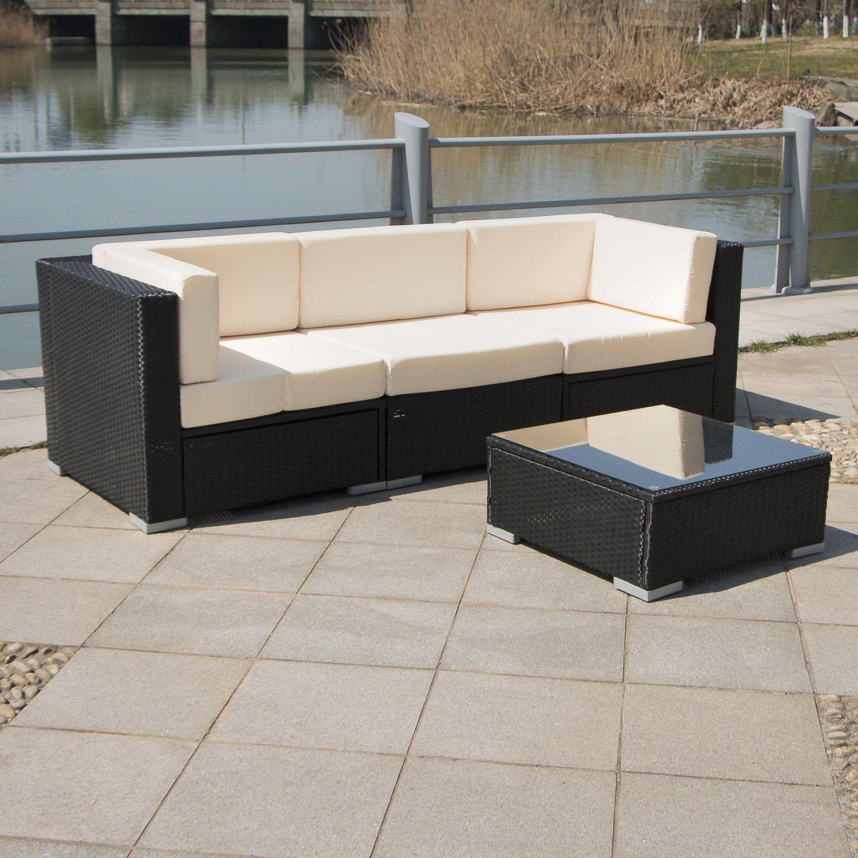 Walcut series of hawaii beach 4pcs patio rattan high for Sofa table higher than sofa