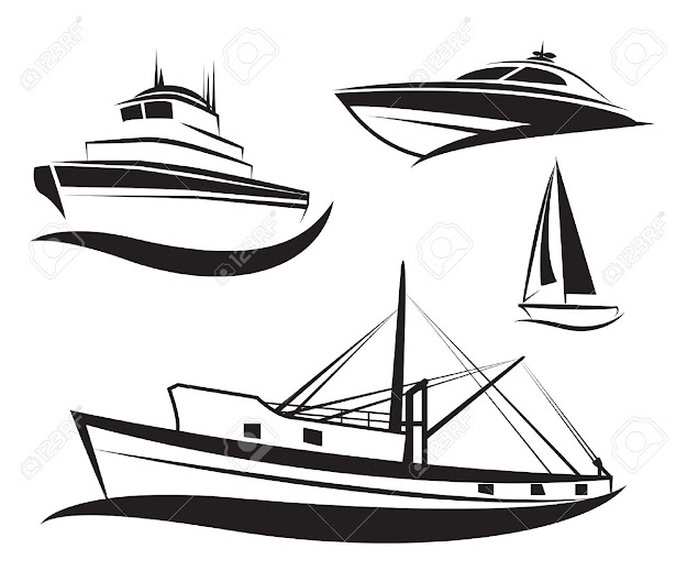 Boat Vector Vector Black Ship And Boat Set
