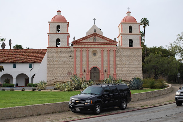 A limo service by Mission Santa Barbara