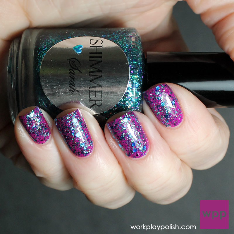 Shimmer Polish Sarah over China Glaze Flying Dragon (Neon) (work / play / polish)