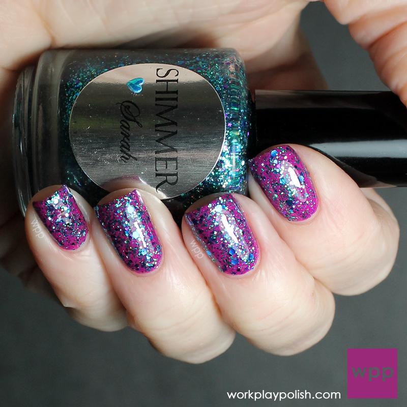 Shimmer Polish Sarah over China Glaze Flying Dragon (Neon) (work / play / polish)