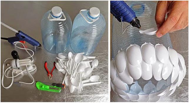 Sendok plastik dan botol plastik menjadi lapisan lampu