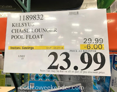 Deal for the Kelsyus Chaise Lounger Pool Float at Costco