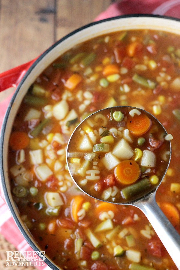 Vegetable Alphabet Soup By Reneeu0027s Kitchen Adventures   Easy Soup Recipe  Full Of Vegetables And ABC
