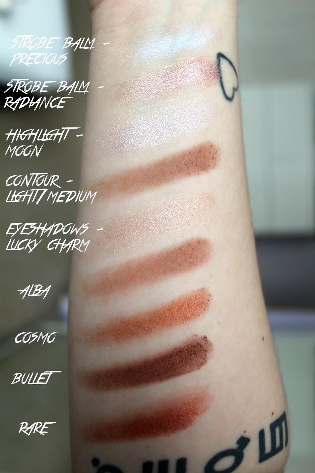 makeup obsession, custom palette, what's in my makeup obsession palette, swatches, reviews, cosmo, bullet, rare, alba, lucky charm, highlight powder, strobe cream, precious, moon, radiance, contour powder, light medium