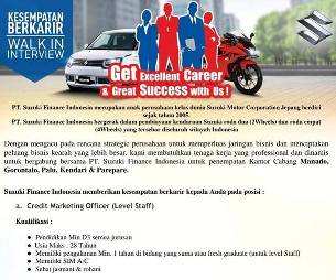 Lowongan Kerja Credit Marketing Officer di PT Suzuki Finance Indonesia