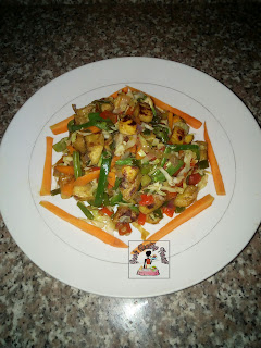 Diced Grilled Plantain in Mixed Vegetables