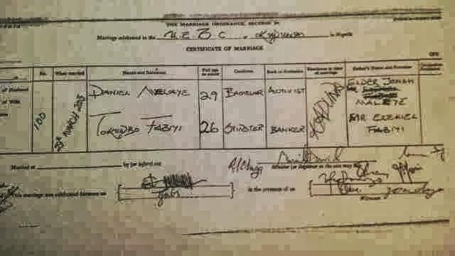dino melaye marriage certificate