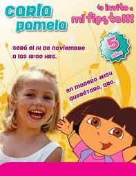 Tarjeta de Invitación de Cumpleaños de Dora La Exploradora