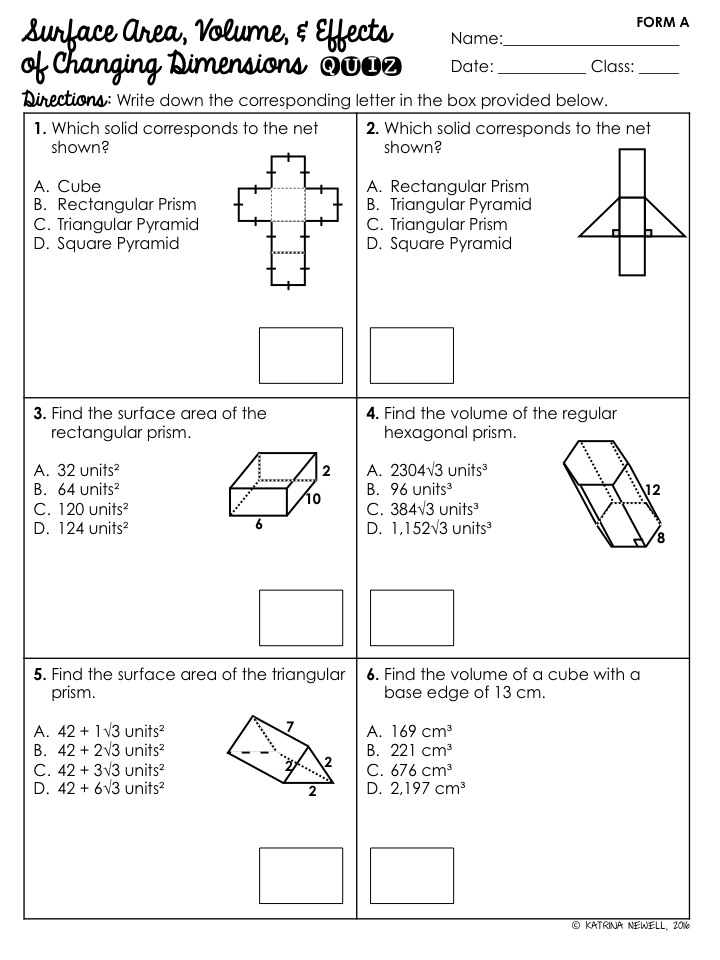 Printable Worksheets  Surface Area And Volume Worksheets ...