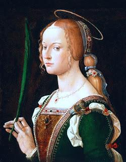 A portrait of Santa Giustina by Italian  artist Bartolomeo Montagna