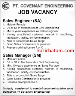 Loker PT. Covenant Engineering
