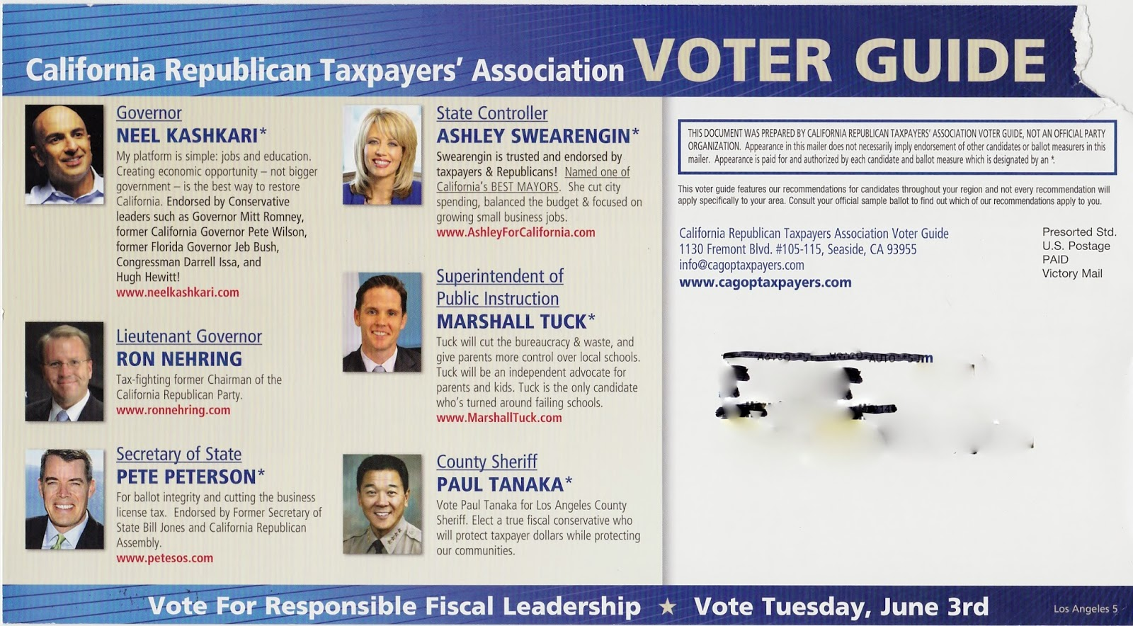 "New Government Report Suggests 1 In 40 >> EPIC JOURNEY: ""California Republican Taxpayers' Association"" Slate Mailer"