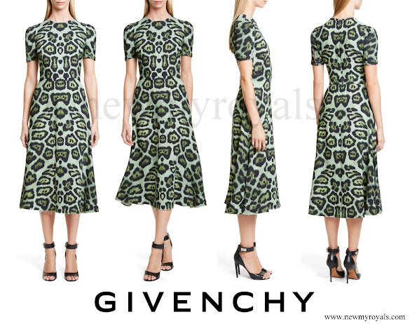 Queen Maxima wore GIVENCHY Jaguar Print Midi Dress