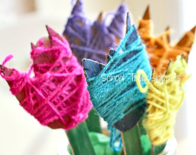 yarn wrapping flower craft for kids