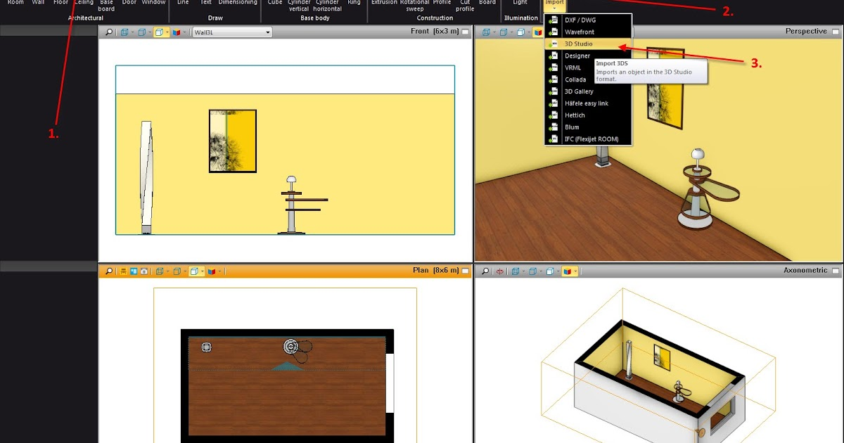 palette cad international blog tip of the month september importing 3ds objects. Black Bedroom Furniture Sets. Home Design Ideas