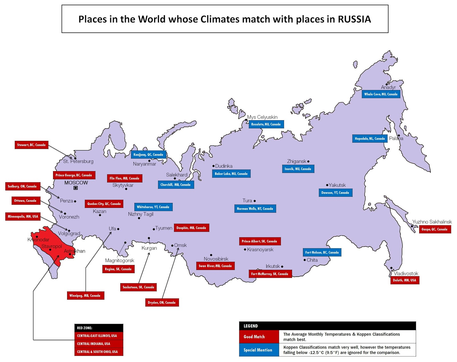 Places in the world whose climates match with Russia