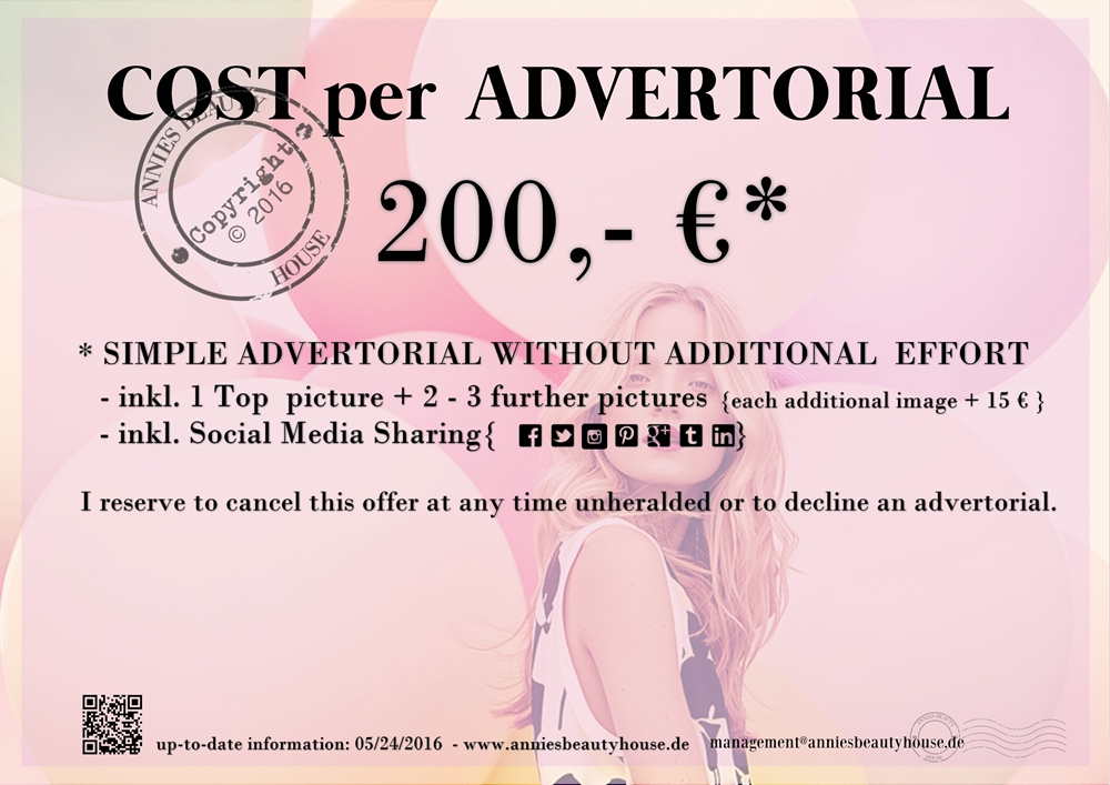 MediaKit Annies Beauty House - Costs per Advertorial - Prices
