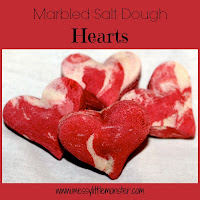 Salt dough marbled hearts -  easy salt dough recipe and salt dough craft ideas for kids