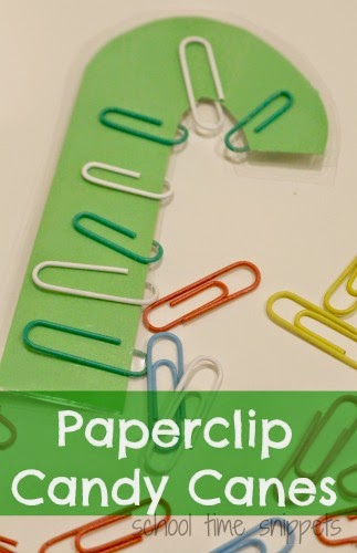 fine motor paper clip christmas activity