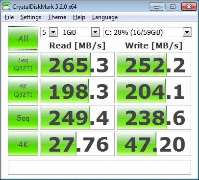 тест на Netac NT620 под Windows 7 в Fujitsu Lifebook AH530 с драйвери