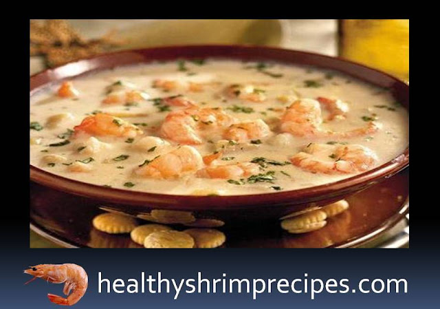 Healthy Soup with shrimp and cheese