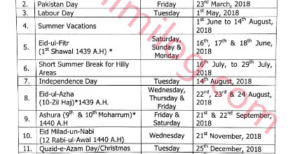 Punjab Holidays 2018 Educational Institutes School Education