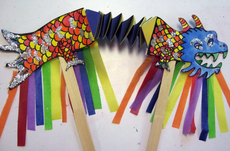 Multicolor Dragon Marionette on Accordion Dragon Craft