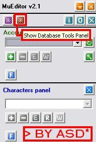 Panel de herramientas del editor muonline