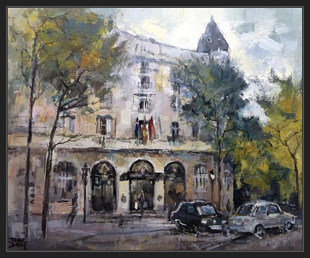 MADRID-PINTURA-HOTEL-RITZ-HOTELES-PAISAJES-URBANOS-CUADROS-ARTISTA-PINTOR-ERNEST DESCALS-