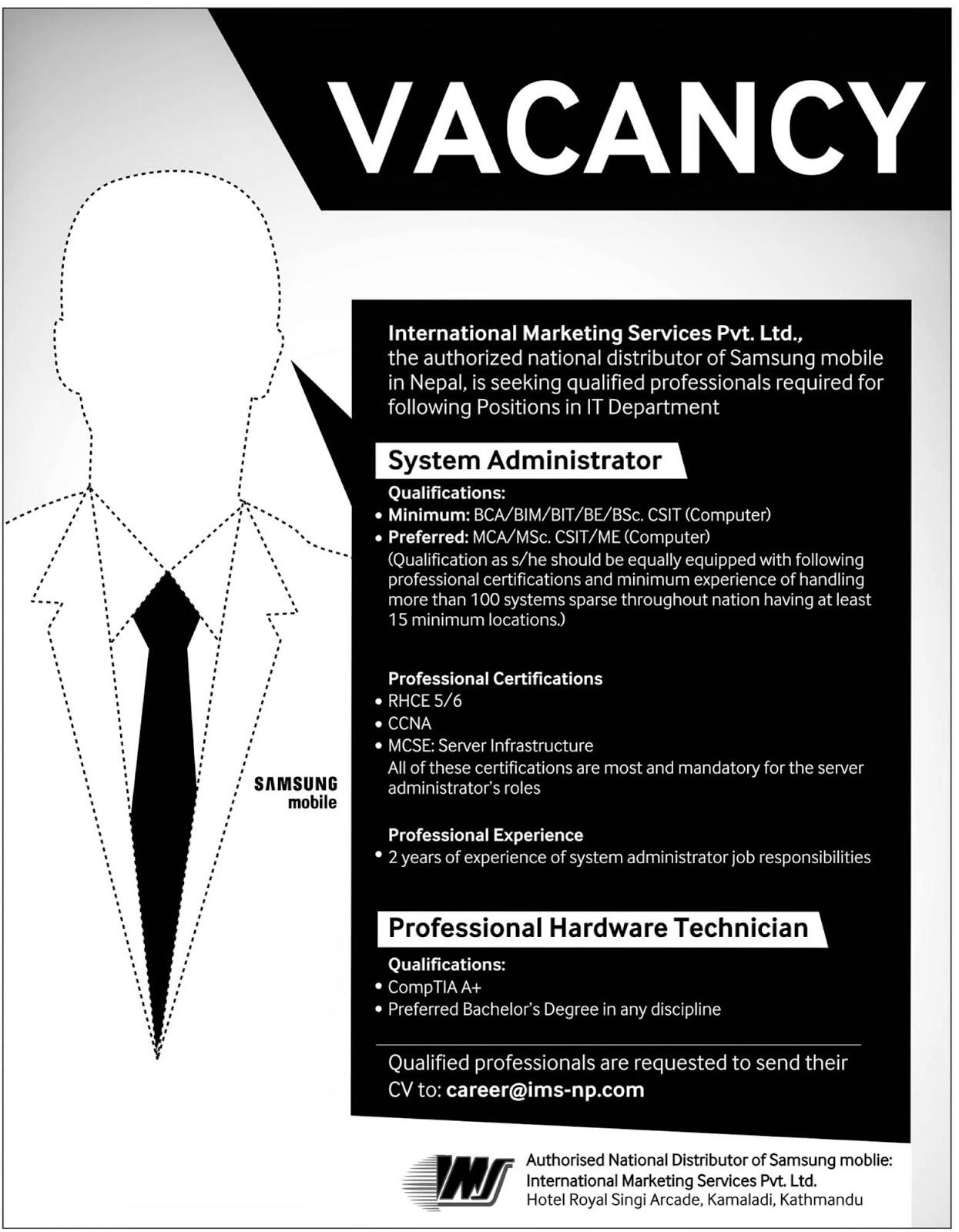 Vacancy In Samsung Mobile