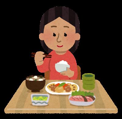 和食を食べる東南アジア人の女性のイラスト