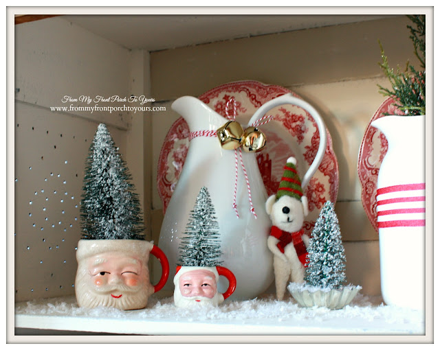 Farmhouse Christmas Kitchen-Red Transferware-Vintage Santa Mugs-From My Front Porch To Yours